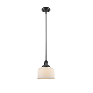 Large Bell Black Eight-Inch LED Mini Pendant with Matte White Cased Dome Glass