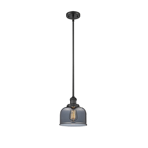 Large Bell Black Eight-Inch LED Mini Pendant with Smoked Dome Glass