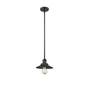Railroad Black Eight-Inch One-Light Mini Pendant with Matte Black Metal Shade
