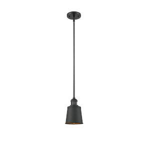Franklin Restoration Matte Black Five-Inch LED Mini Pendant with Addison Matte Black Metal Shade