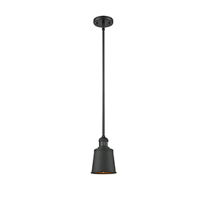 Addison Black Five-Inch One-Light Mini Pendant with Brushed Brass Metal Shade