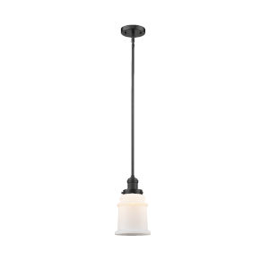 Canton Oil Rubbed Bronze One-Light Hang Straight Swivel Mini Pendant with Matte White Glass