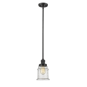 Canton Oiled Rubbed Bronze 10-Inch LED Mini Pendant with Seedy Bell Glass