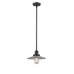 Halophane Oiled Rubbed Bronze Eight-Inch LED Mini Pendant with Halophane Cone Glass