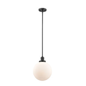 Franklin Restoration Oil Rubbed Bronze 10-Inch LED Pendant with Matte White Glass Shade