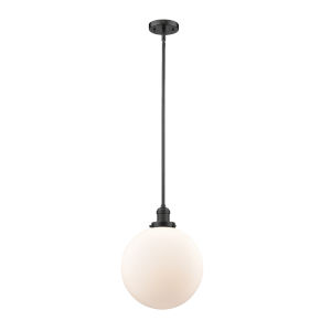 Franklin Restoration Oil Rubbed Bronze 12-Inch One-Light Pendant with Matte White Cased Beacon Shade
