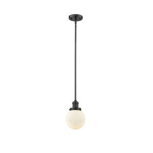 Franklin Restoration Oil Rubbed Bronze Six-Inch LED Mini Pendant with Matte White Glass Shade
