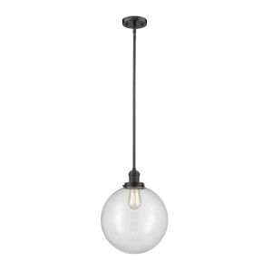 Franklin Restoration Oil Rubbed Bronze 12-Inch LED Pendant with Clear Beacon Shade