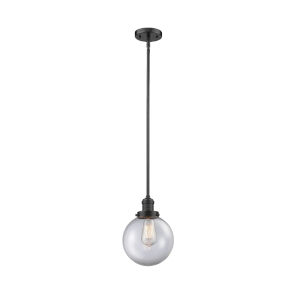Franklin Restoration Oil Rubbed Bronze Eight-Inch LED Mini Pendant with Clear Glass Shade