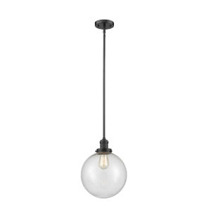 Franklin Restoration Oil Rubbed Bronze 10-Inch LED Pendant with Seedy Glass Shade