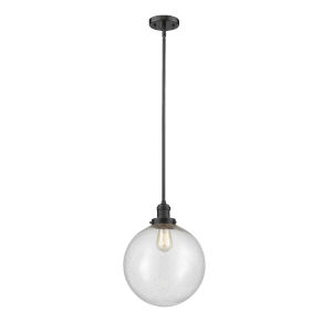 Franklin Restoration Oil Rubbed Bronze 12-Inch LED Pendant with Seedy Beacon Shade