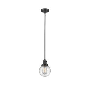 Franklin Restoration Oil Rubbed Bronze Six-Inch LED Mini Pendant with Seedy Glass Shade