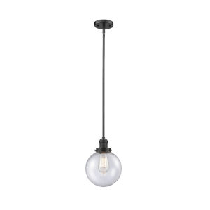 Franklin Restoration Oil Rubbed Bronze Eight-Inch One-Light Mini Pendant with Seedy Glass Shade