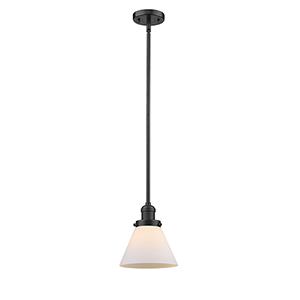 X-Large Cone Oiled Rubbed Bronze One-Light Pendant with Matte White Cased Cone Glass