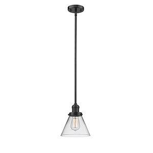 Large Cone Oiled Rubbed Bronze 10-Inch One-Light Mini Pendant with Clear Cone Glass