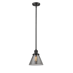 Large Cone Oiled Rubbed Bronze 10-Inch One-Light Mini Pendant with Smoked Cone Glass