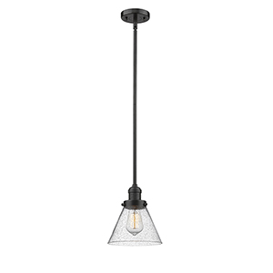 Large Cone Oiled Rubbed Bronze 10-Inch One-Light Mini Pendant with Seedy Cone Glass