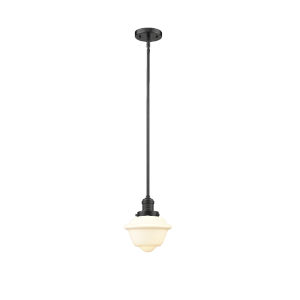 Small Oxford Oil Rubbed Bronze 3.5W LED Hang Straight Swivel Mini Pendant with Matte White Cased Glass
