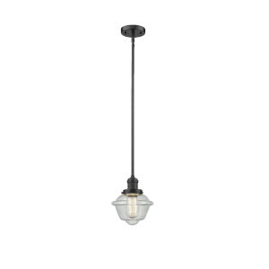 Small Oxford Oil Rubbed Bronze One-Light Hang Straight Swivel Mini Pendant with Seedy Glass