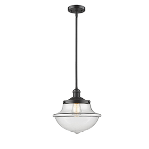 Oxford School House Oiled Rubbed Bronze LED Pendant with Clear Bell Glass