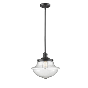 Oxford School House Oiled Rubbed Bronze 11-Inch LED Pendant with Seedy Bell Glass