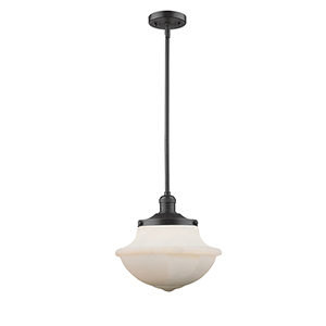 Oxford School House Oiled Rubbed Bronze LED Pendant with White Bell Glass