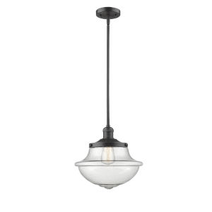 Franklin Restoration Oil Rubbed Bronze 12-Inch LED Pendant with Seedy Large Oxford Shade