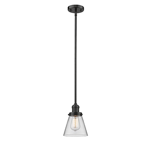 Small Cone Oiled Rubbed Bronze Eight-Inch LED Mini Pendant with Clear Cone Glass