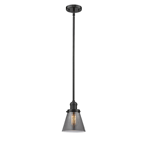 Small Cone Oiled Rubbed Bronze Eight-Inch LED Mini Pendant with Smoked Cone Glass