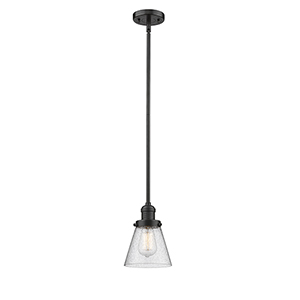 Small Cone Oiled Rubbed Bronze Eight-Inch One-Light Mini Pendant with Seedy Cone Glass