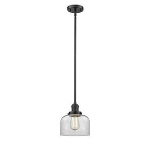 Large Bell Oiled Rubbed Bronze 10-Inch LED Mini Pendant with Clear Dome Glass