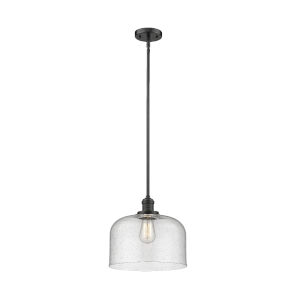 X-Large Bell Oil Rubbed Bronze LED Hang Straight Swivel Pendant with Seedy Glass