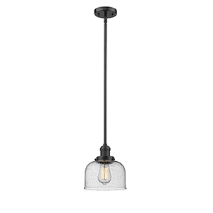 Large Bell Oiled Rubbed Bronze 10-Inch LED Mini Pendant with Seedy Dome Glass