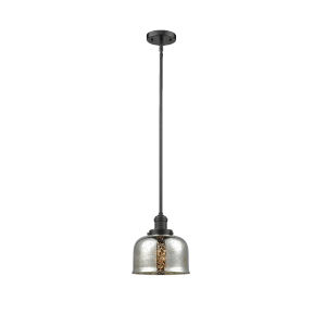 Large Bell Oil Rubbed Bronze LED Hang Straight Swivel Mini Pendant with Silver Plated Mercury Glass