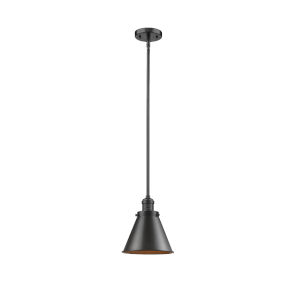 Franklin Restoration Oil Rubbed Bronze Eight-Inch One-Light Mini Pendant with Appalachian Oil Rubbed Bronze Metal Shade