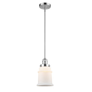 Canton Polished Chrome One-Light Hang Straight Swivel Mini Pendant with Matte White Glass