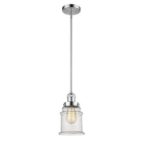Canton Polished Chrome One-Light Hang Straight Swivel Mini Pendant with Seedy Glass