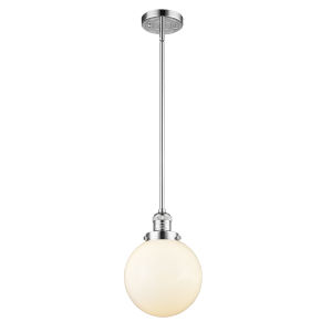 Franklin Restoration Polished Chrome Eight-Inch LED Mini Pendant with Matte White Glass Shade