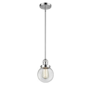 Franklin Restoration Polished Chrome Six-Inch LED Mini Pendant with Clear Glass Shade
