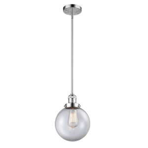 Franklin Restoration Polished Chrome Eight-Inch LED Mini Pendant with Clear Glass Shade