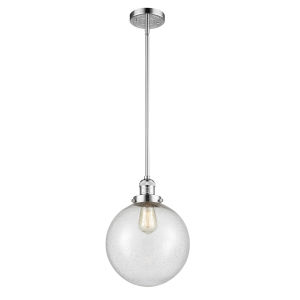 Franklin Restoration Polished Chrome 10-Inch One-Light Pendant with Seedy Glass Shade