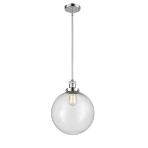 Franklin Restoration Polished Chrome 12-Inch LED Pendant with Seedy Glass Shade
