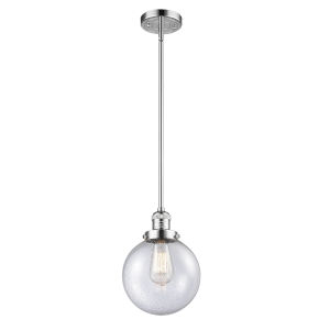 Franklin Restoration Polished Chrome Eight-Inch LED Mini Pendant with Seedy Glass Shade
