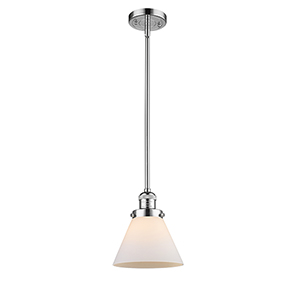 X-Large Cone Polished Chrome LED Pendant with Matte White Cased Cone Glass