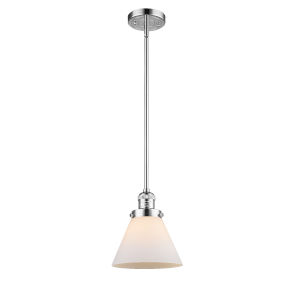 Large Cone Polished Chrome One-Light Hang Straight Swivel Mini Pendant