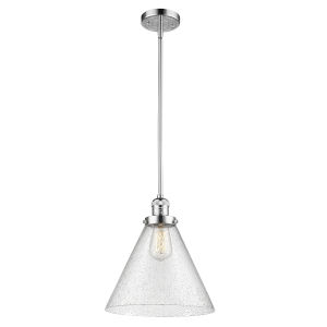 X-Large Cone Polished Chrome One-Light Hang Straight Swivel Pendant with Seedy Glass