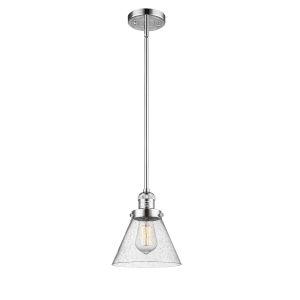 Large Cone Polished Chrome LED Hang Straight Swivel Mini Pendant with Seedy Glass