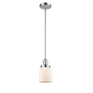 Small Bell Polished Chrome 60W One-Light Hang Straight Swivel Mini Pendant with Matte White Cased Glass