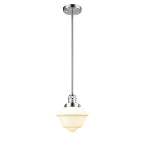 Small Oxford Polished Chrome 60W One-Light Hang Straight Swivel Mini Pendant with Matte White Cased Glass