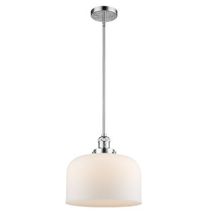 X-Large Bell Polished Chrome 60W One-Light Hang Straight Swivel Pendant with Matte White Cased Glass